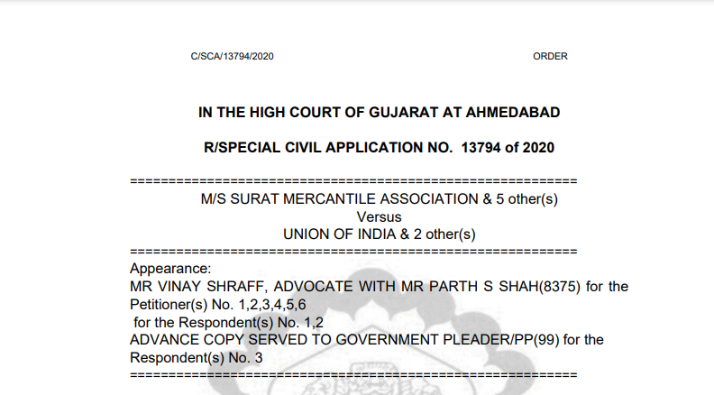 Gujarat HC in the case of M/s Surat Mercantile Association Versus Union of India