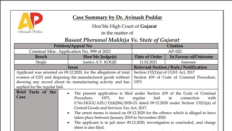 Gujarat HC in the case of Basant Pherumal Makhija Versus State of Gujarat