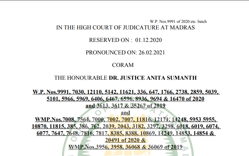 Madras HC in the case of M/s.DMR Constructions Versus The Assistant Commissioner