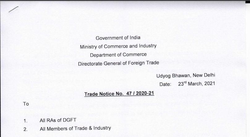 Trade Notice No. 47/2020-21