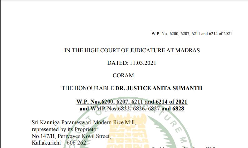 Madras HC in the case of Sri Kanniga Parameswari Modern Rice Mill Versus The State Tax Officer