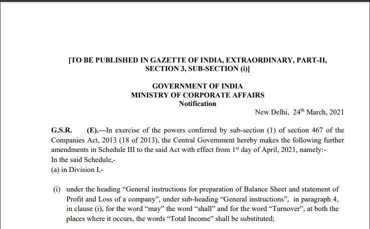 MCA Notifies Amendments in Schedule-III of Companies Act, 2013 Effective From 01.04.2021