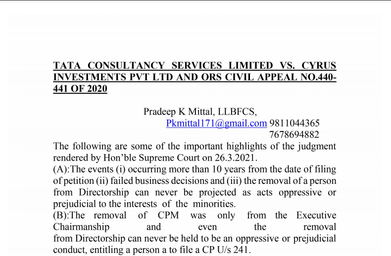 Highlights of Tata Sons Judgement