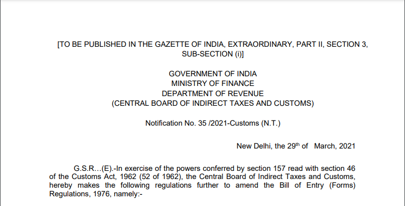 Notification No. 35 /2021-Customs (N.T.)