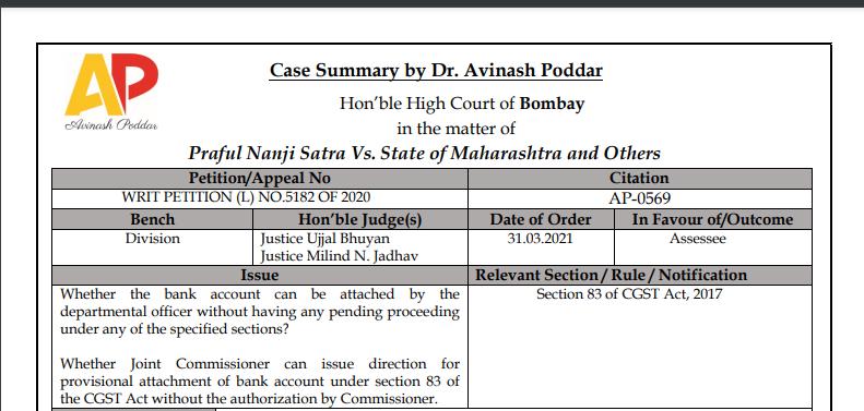 Bombay HC in the case of Praful Nanji Satra Vs. State of Maharashtra