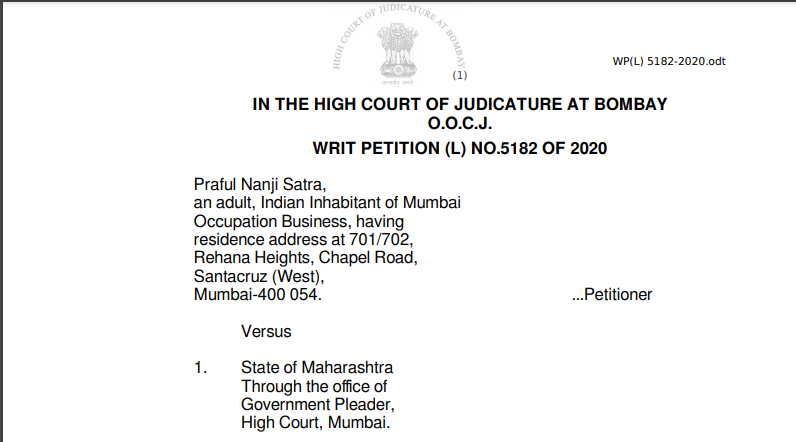 Bombay HC in the case of Praful Nanji Satra Versus State of Maharashtra