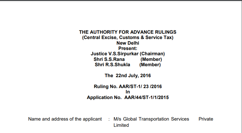 AAR in the case of M/s Global Transportation Services Private Limited