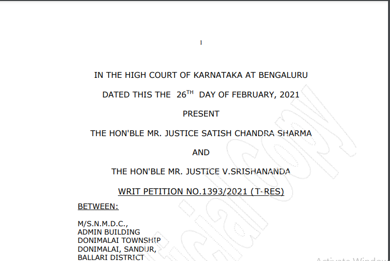 Karnataka HC in the case of M/s NMDC Versus The Authority for Advance Ruling