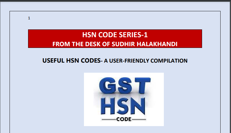 Useful HSN Codes- A User-Friendly Compilation