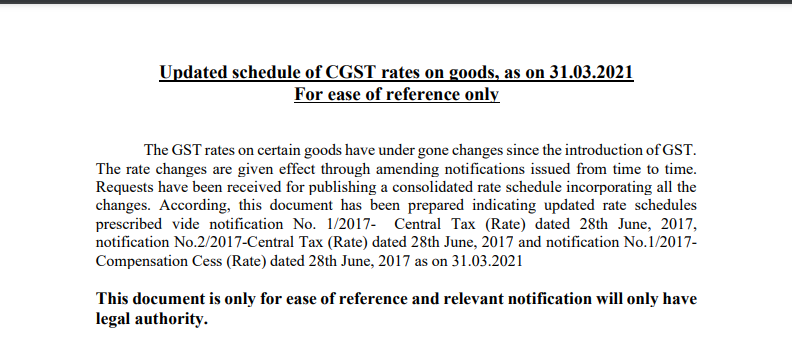Updated schedule of CGST rates on goods, as of 31.03.2021