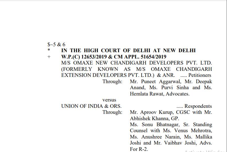 Delhi HC Order in the case of M/s Omaxe New Chandigarh Developers Pvt. Ltd V/s. UOI.