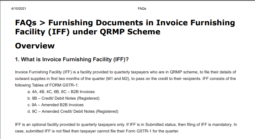 FAQs on Furnishing Documents in Invoice Furnishing Facility (IFF) under QRMP Scheme: GSTN.