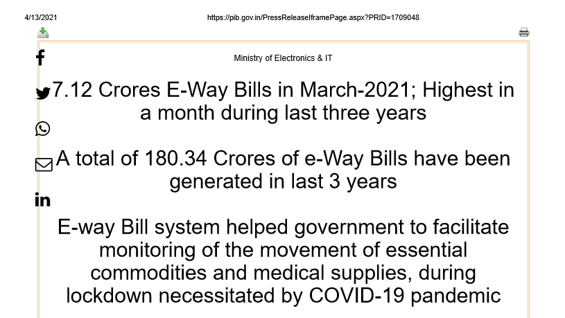 7.12 Crores E-Way Bills in March-2021; Highest in a month during last three years.
