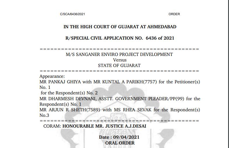 Gujarat HC Order in the case of M/sSanganer Enviro ProjectDevelopment Versus State ofGujarat