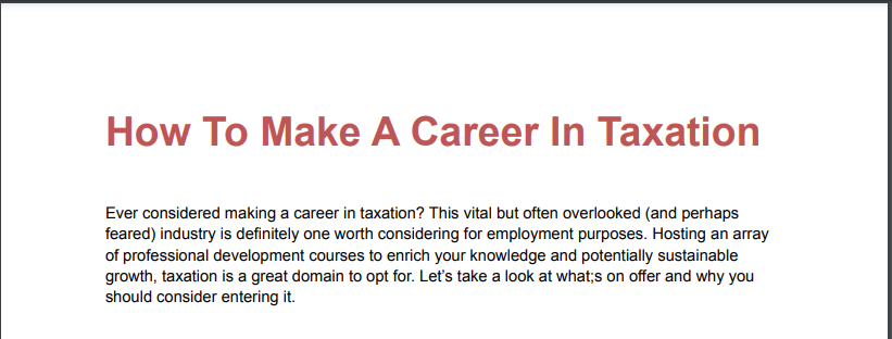 How To Make A Career In Taxation