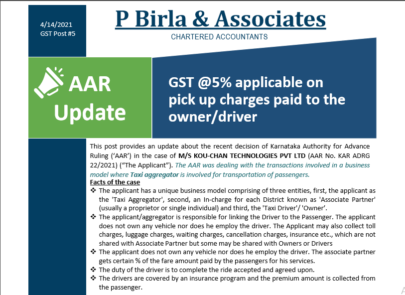 AAR Update- GST @5% applicable on pick up charges paid to the owner/driver