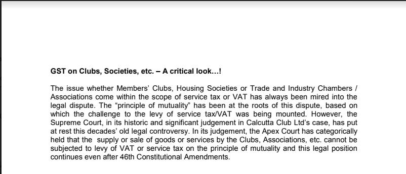GST on Clubs, Societies, etc. – A critical look...!