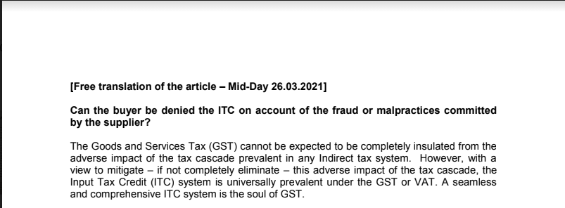 Can the buyer be denied the ITC on account of the fraud or malpractices committed by the supplier?