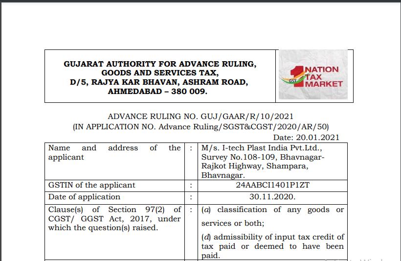 Gujarat AAR in the case of M/s. I-tech Plast India Pvt. Ltd.