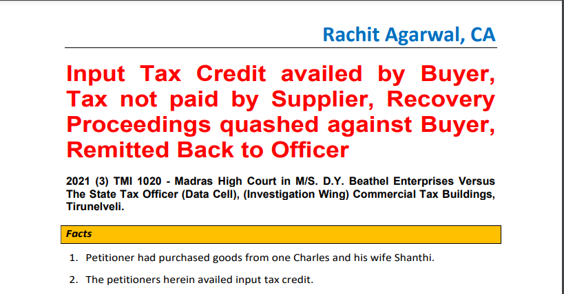 Input Tax Credit availed by Buyer, Tax not paid by Supplier, Recovery Proceedings quashed against Buyer, Remitted Back to Officer