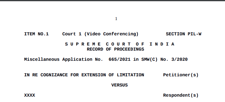 SC Order In Re Cognizance For Extension Of Limitation