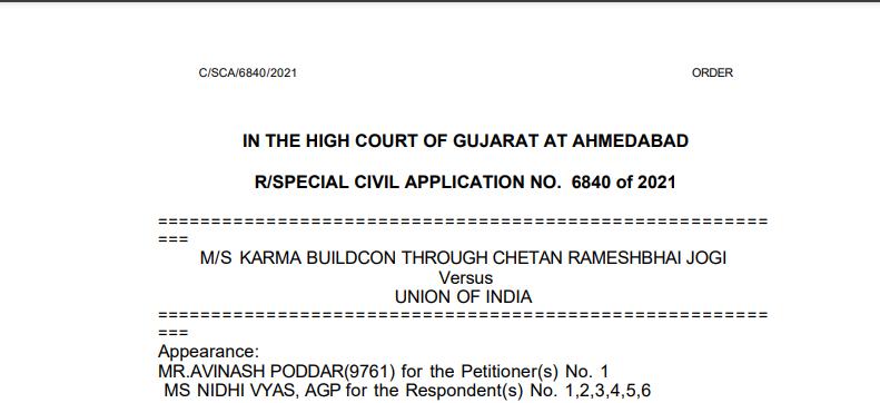Gujarat HC Order in the case of M/s Karma Buildcon Versus Union of India