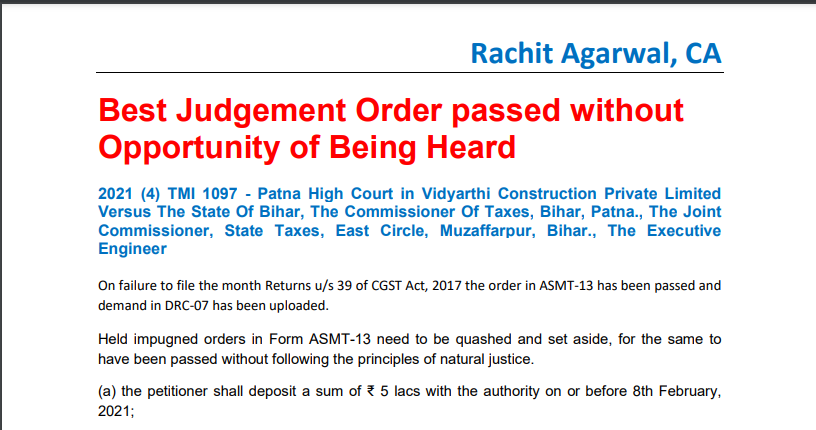 Best Judgement Order passed without Opportunity of Being Heard.