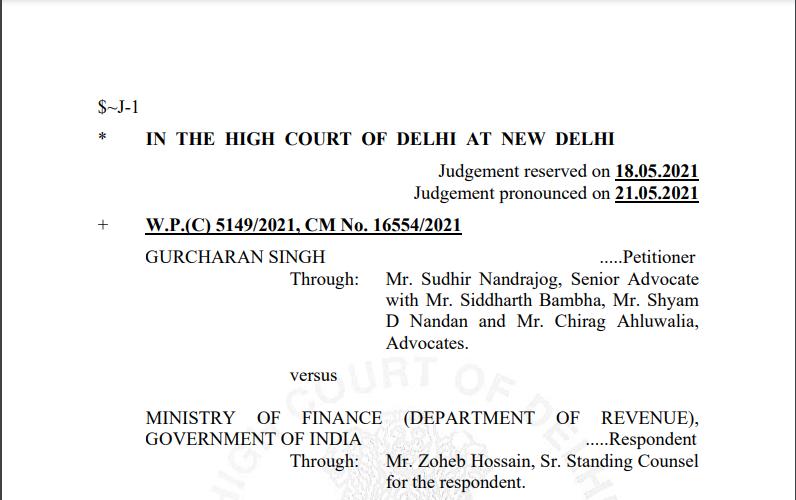 Delhi HC Order in the case of Gurcharan Singh Versus Ministry Of Finance