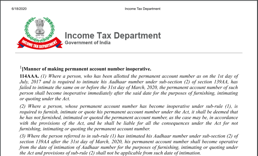 Section 206AB changes as applicable from July 1, 2021 - Declaration on the filing of the tax return for past years and linking of PAN with Aadhaar