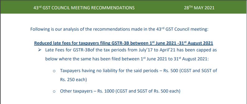 43rd GST Council Meeting Recommendations