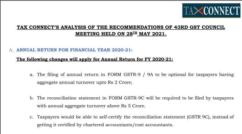 Tax Connect's Analysis of The Recommendations of 43rd GST Council Meeting Held On 28th May 2021