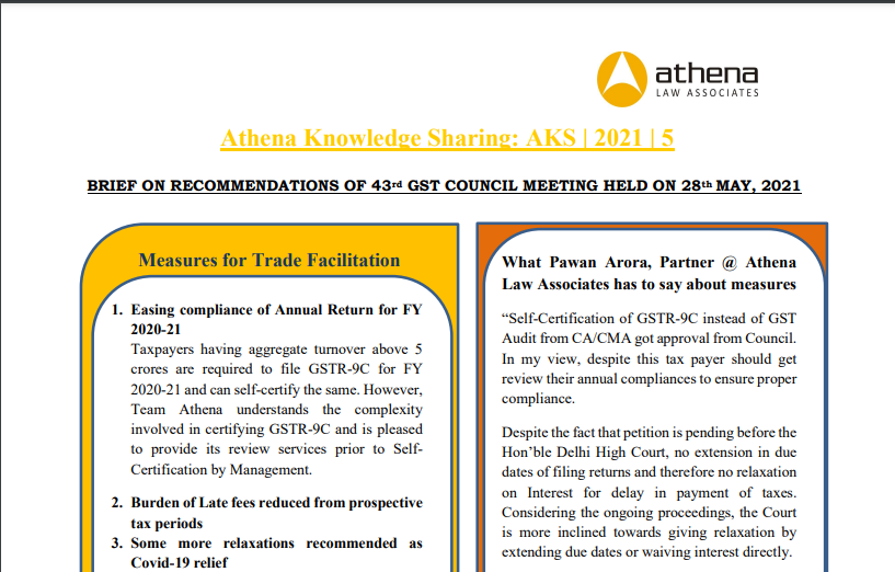 Brief on Recommendations of 43rd GST Council Meeting Held On 28th MAY, 2021.