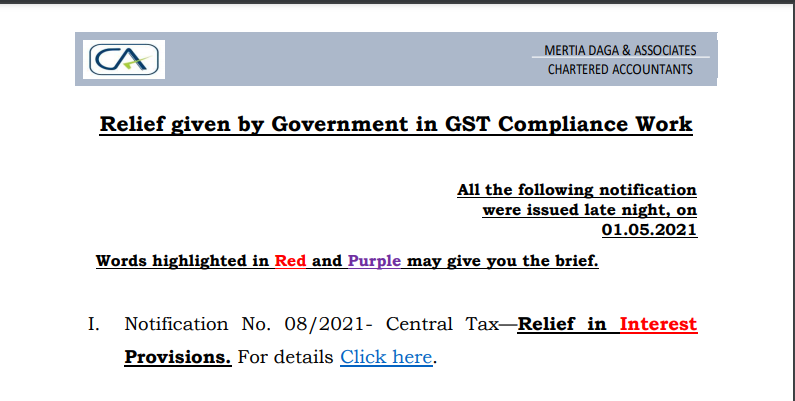 Relief given by Government in GST Compliance Work