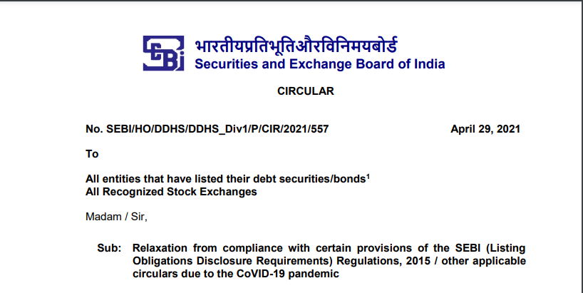 SEBI Relaxes compliance with certain provisions of LODR Regulations and circulars due to COVID-19.