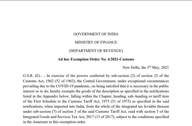 Ad hoc Exemption Order No. 4/2021-Customs