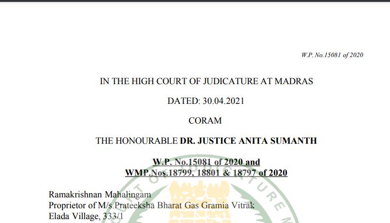 Madras HC Order in the case of Ramakrishnan Mahalingam Versus State Tax Officer (Circle)