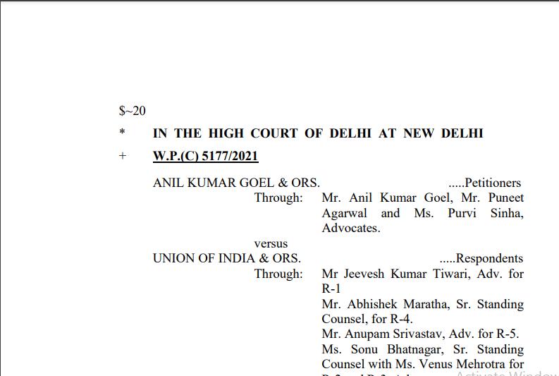 Delhi HC Order in the case of Anil Kumar Goel Versus Union of India