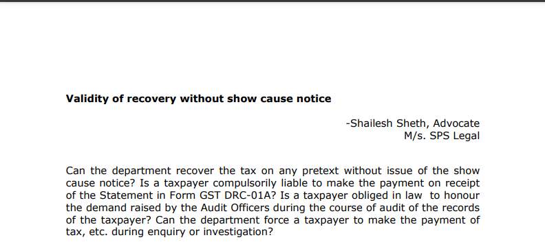 Validity of recovery without show-cause notice