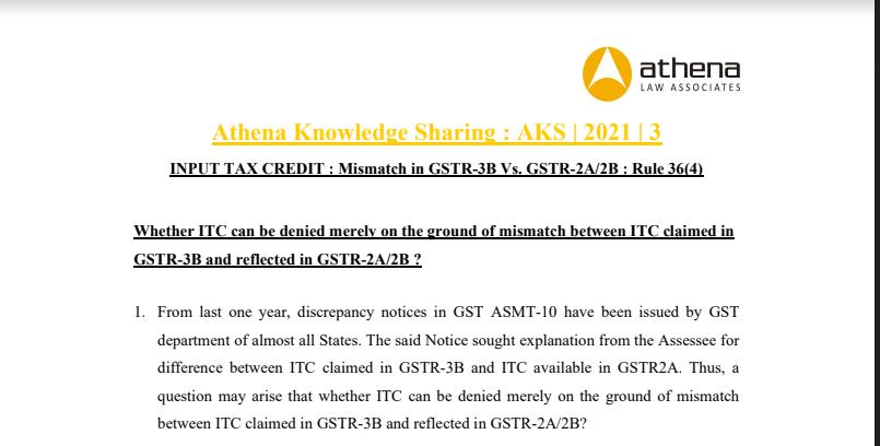 INPUT TAX CREDIT: Mismatch in GSTR-3B Vs. GSTR-2A/2B: Rule 36(4).