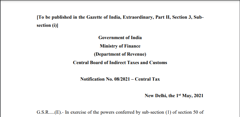 Notification No. 08/2021 – Central Tax.
