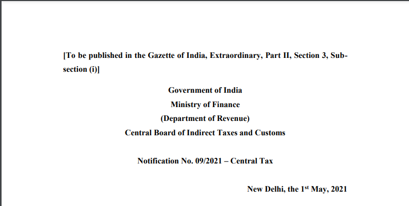Notification No. 09/2021 – Central Tax.