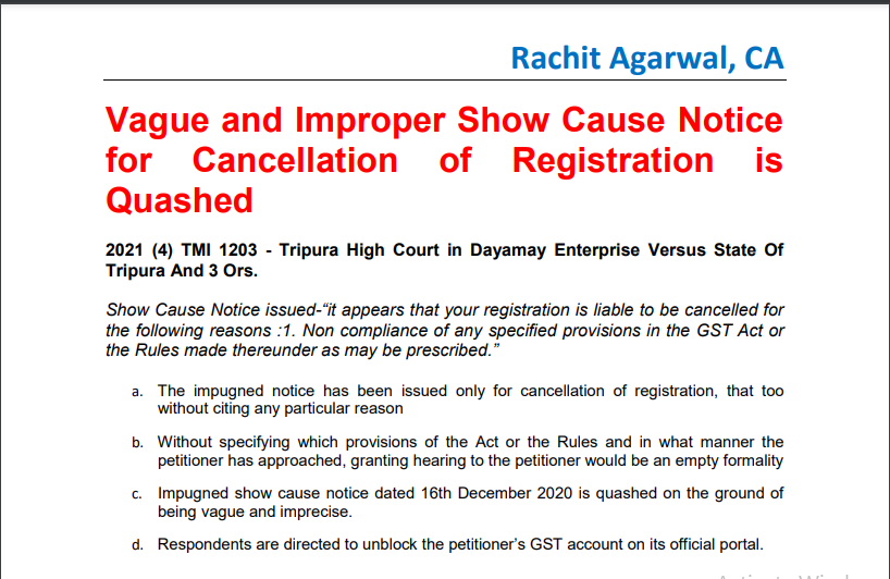 Vague and Improper Show Cause Notice for Cancellation of Registration is Quashed