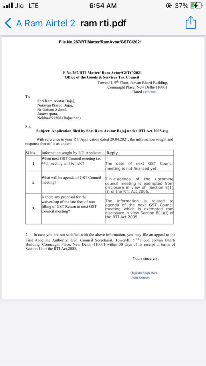 Application filed by Shri Ram Avatar Bajaj under RTI Act, 2005