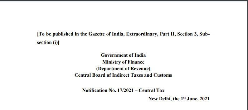 Notification No. 17/2021 – Central Tax