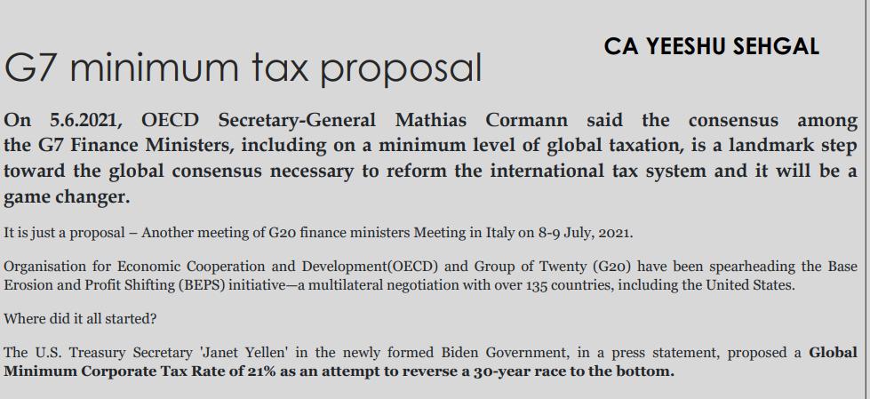 G7 minimum tax proposal
