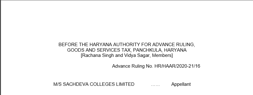 Haryana AAR Order In the Case of M/s Sachdeva Colleges Limited.