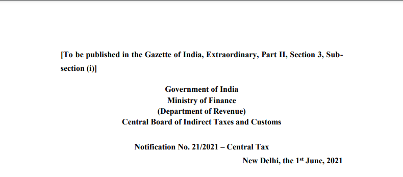Notification No. 21/2021 – Central Tax