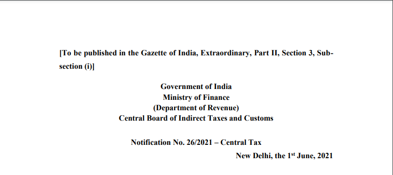 Notification No. 26/2021 – Central Tax