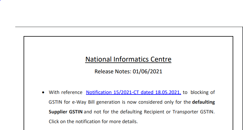 National Informatics Centre Release Notes: 01/06/2021.