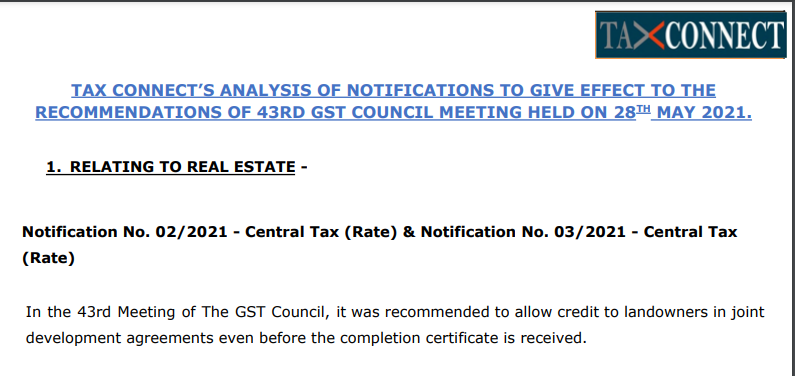 Tax Connect's Analysis of Notifications To Give Effect To The Recommendations of 43rd GST Council Meeting Held On 28th May 2021.